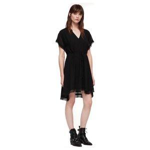 All Saints Keira Shimmer Black Dress